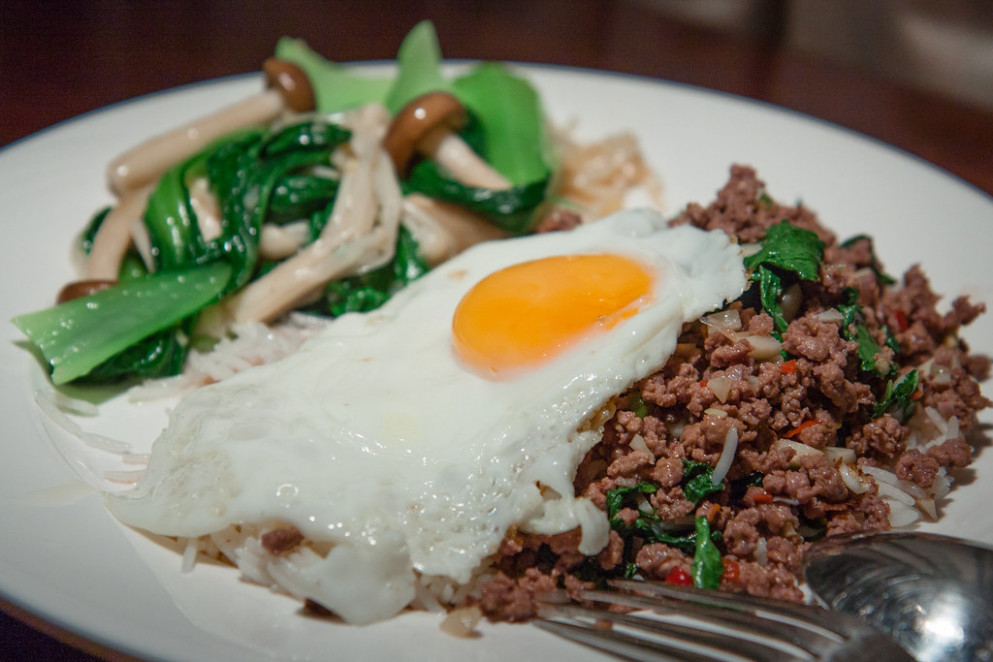 Stir-Fried Minced Beef (Neua Pat Bai Grapao) with Chillies and Holy Basil with Bok Choy and Mushrooms - recipes eggs for dinner