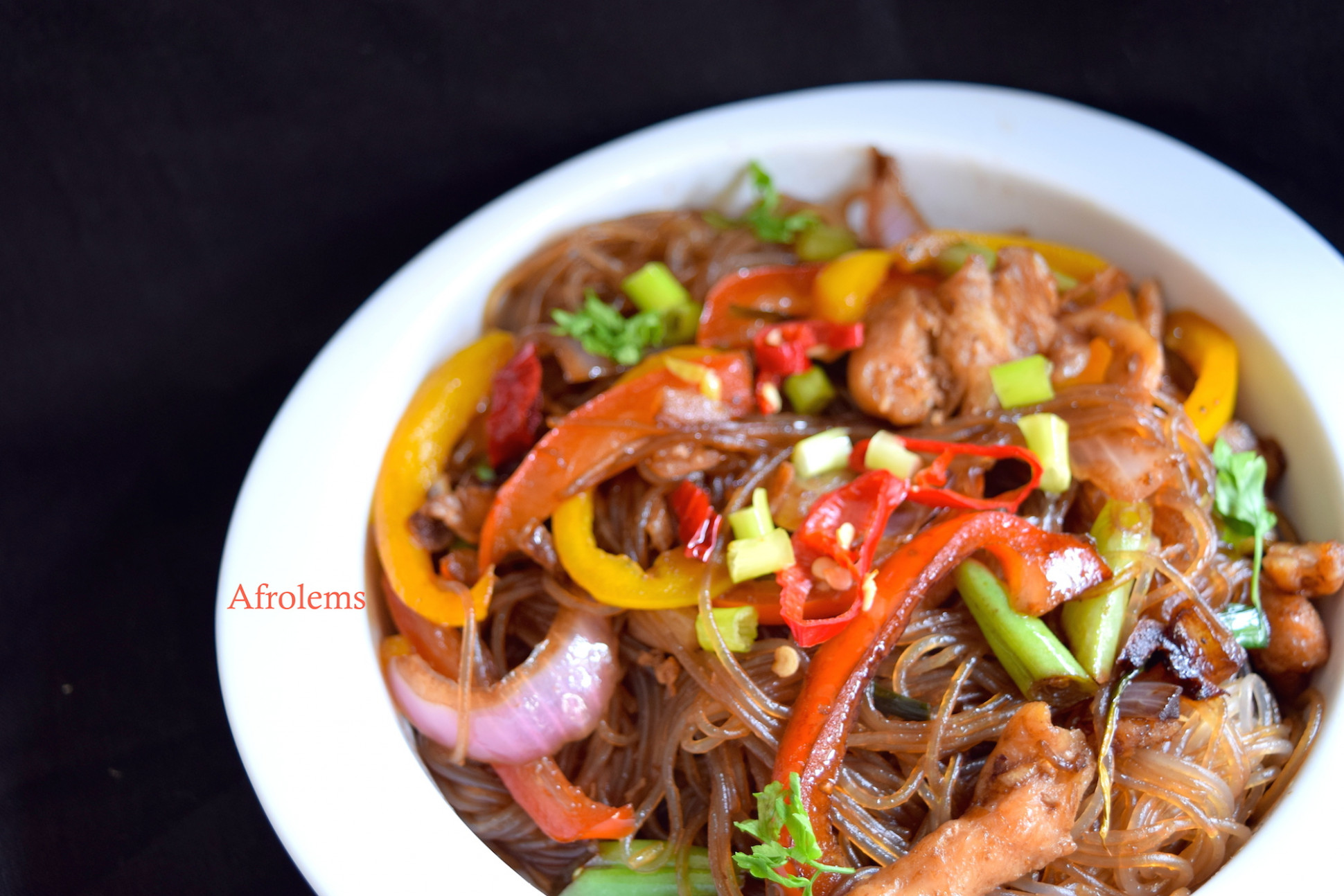 Stir Fried Noodles with Chicken - Afrolems Nigerian Food Blog - authentic chinese recipes chicken