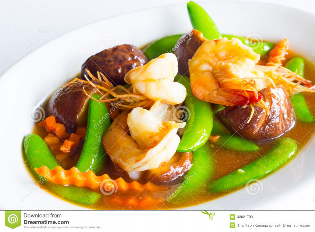 Stir Mixed Vegetable In Oyster Sauce Stock Photo - Image of ..