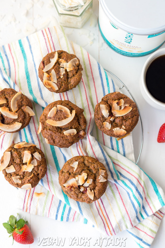 Strawberry Banana Nut Protein Muffins - recipes protein vegetarian