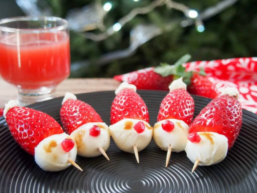 Strawberry Santas - quick and easy party finger food recipes