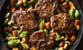 Strip Steaks With Smoky Cilantro Sauce & Roasted ..