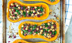 Stuffed Butternut Squash With Quinoa, Kale, Cranberries, And Chickpeas – Healthy Vegetarian Dinner Recipes