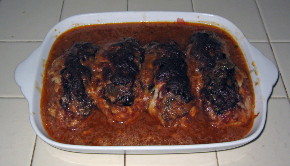 Stuffed chicken breast, pizza style - done baking - dinner recipes with shredded chicken breast