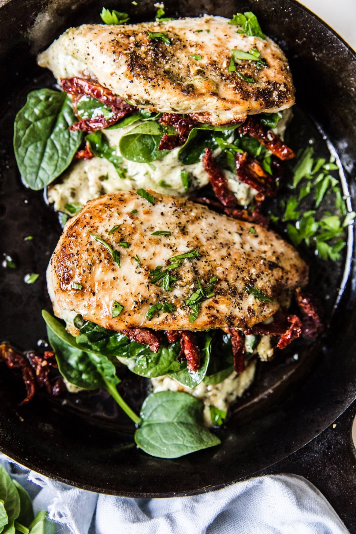 Stuffed Chicken Breast with Spinach, Cheese and Sun-Dried Tomatoes - chicken recipes with cream cheese