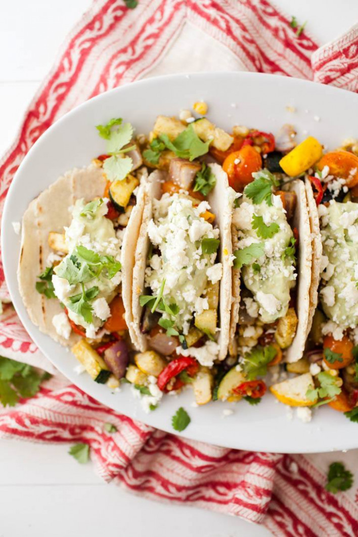 Summer Vegetarian Tacos with Avocado Cream | Naturally Ella - recipes vegetarian summer