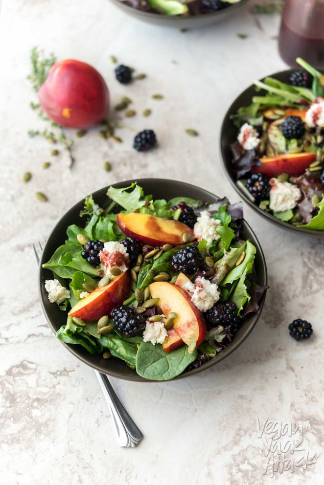Summery Salad with Blackberry Vinaigrette + Almond Ricotta - healthy and vegetarian recipes