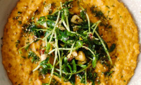 Sunflower Carrot Risotto With Hazelnut Pea Shoots – Recipes Risotto Vegetarian