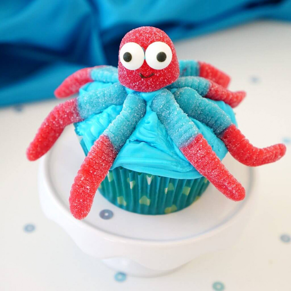 Super Cute & Easy Octopus Cupcakes - Happiness is Homemade - ocean themed food recipes