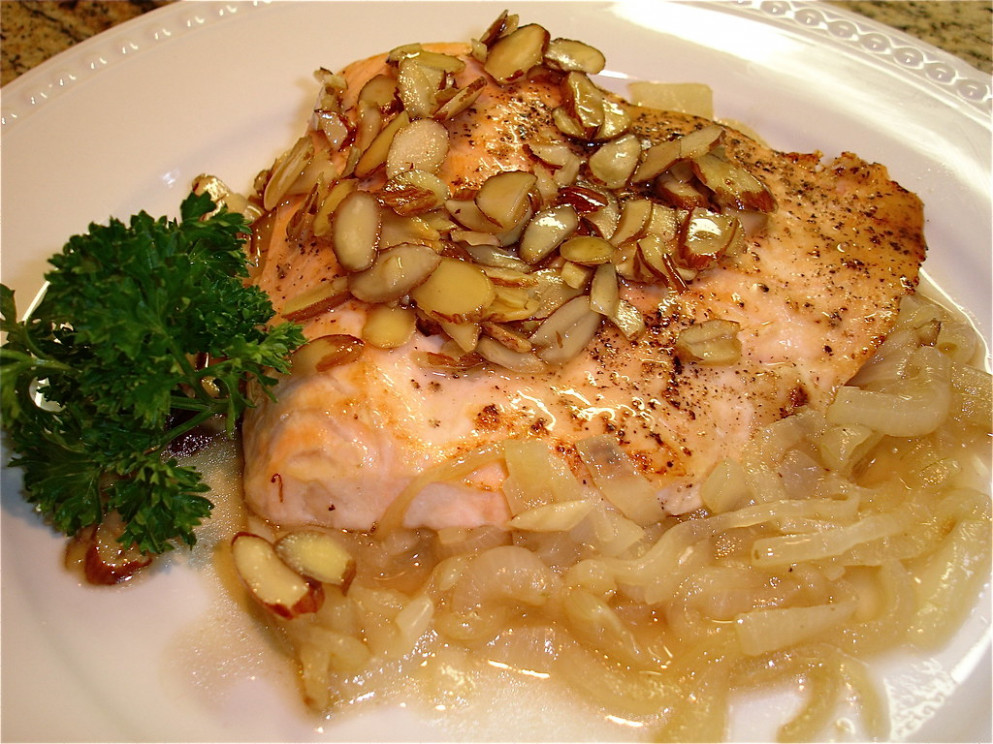 Sweet Almond Salmon - Food Recipes To Gain Weight