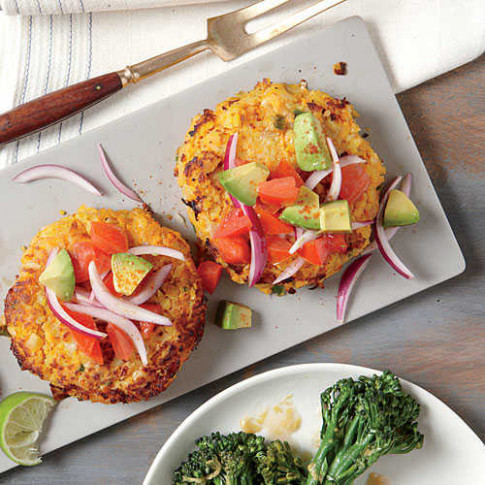 Sweet Potato and Chickpea Cakes with Avocado Salsa ..