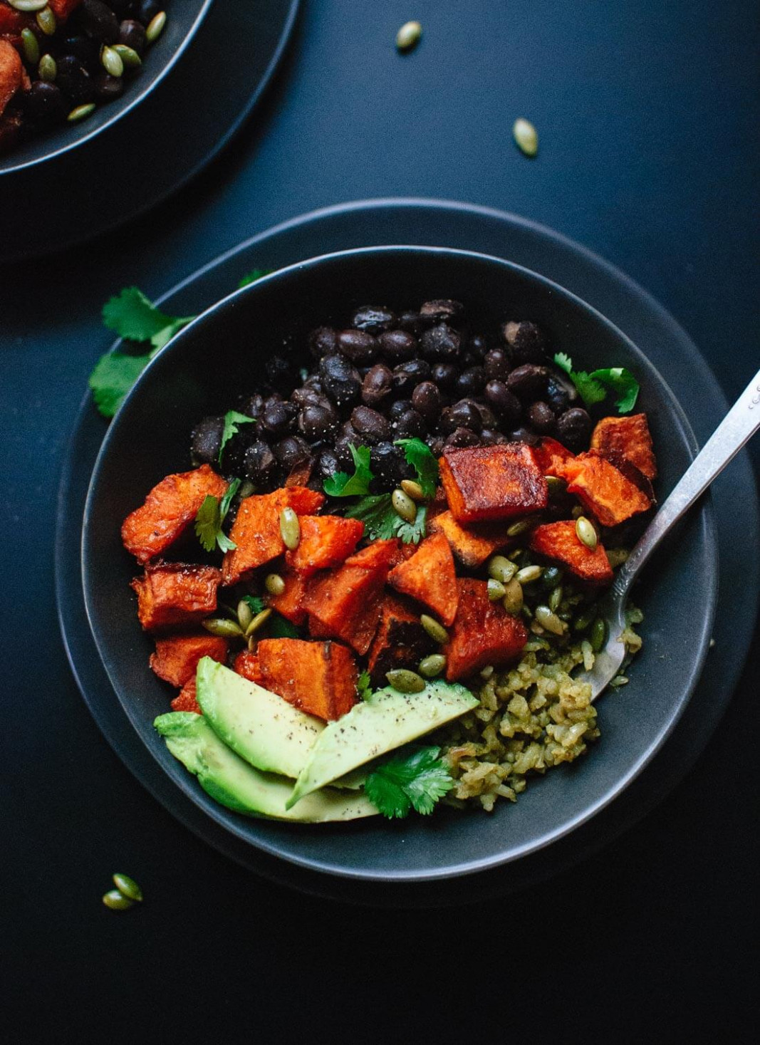 Sweet Potato and Green Rice Burrito Bowls - Cookie and Kate - recipes black beans healthy