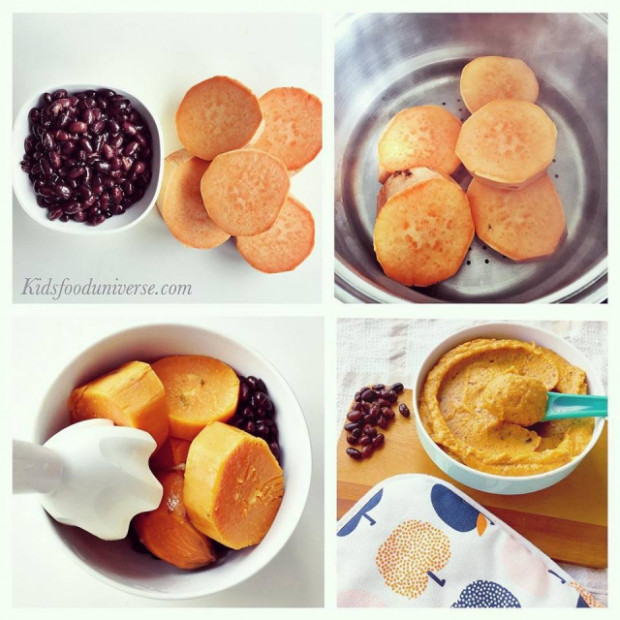 Sweet potato & Black bean purée - Kids food - homemade baby food recipes 6-9 months