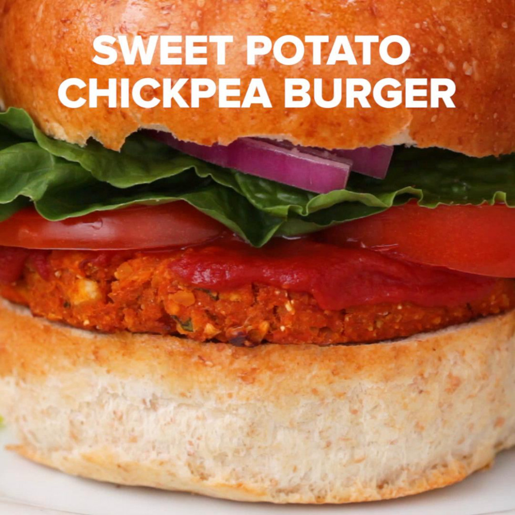 Sweet Potato Chickpea BBQ Veggie Burgers Recipe by Tasty - recipes of chickpeas vegetarian