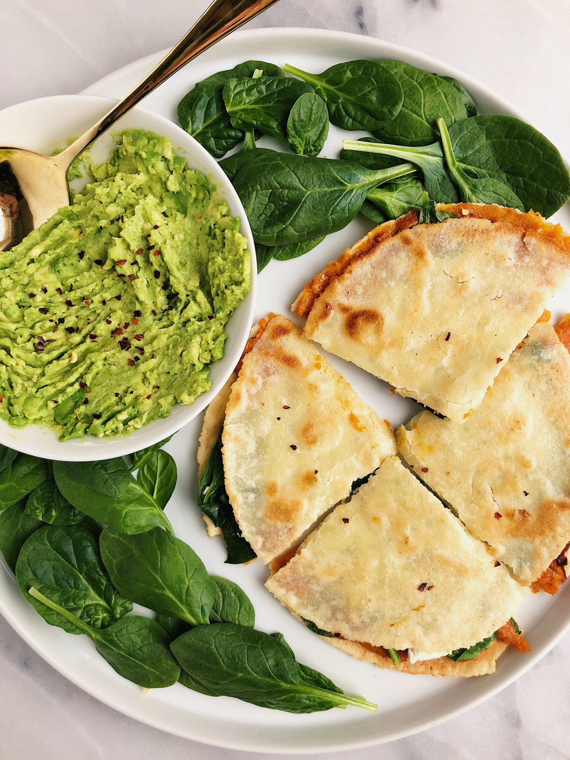 Sweet Potato + Greens Quesadilla (vegan) - gluten free recipes vegetarian