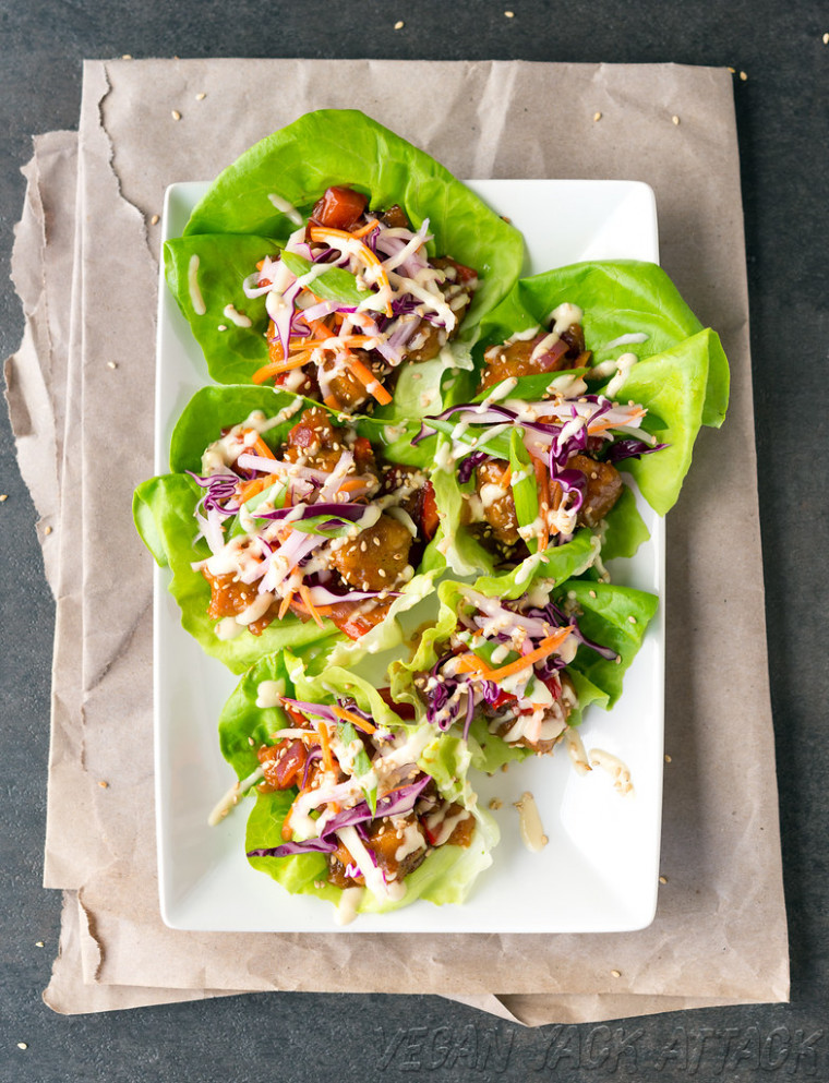 Sweet & Sour Porkless Lettuce Cups - recipes easy dinner healthy