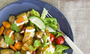 Tandoori chicken with masala roast vegetable salad and creamy coriander  yoghurt