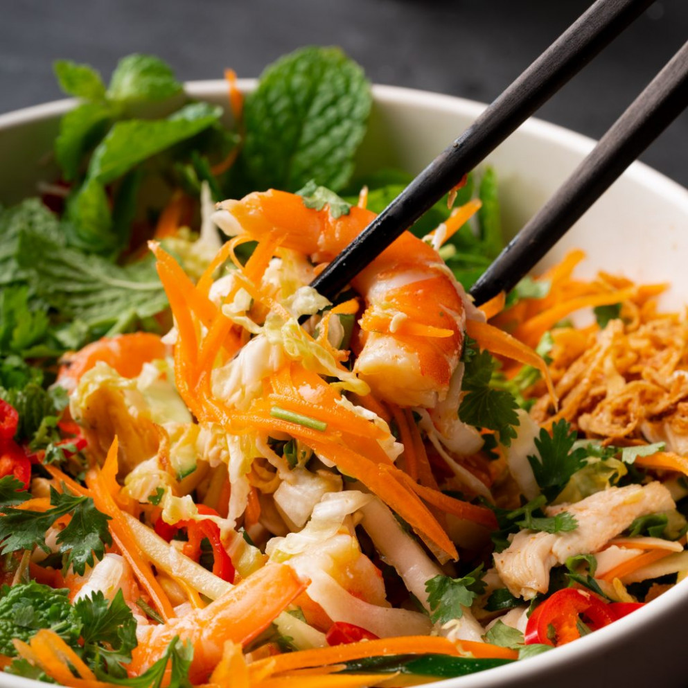 Tangy Vietnamese Chicken & Prawn Salad - vietnamese recipes chicken