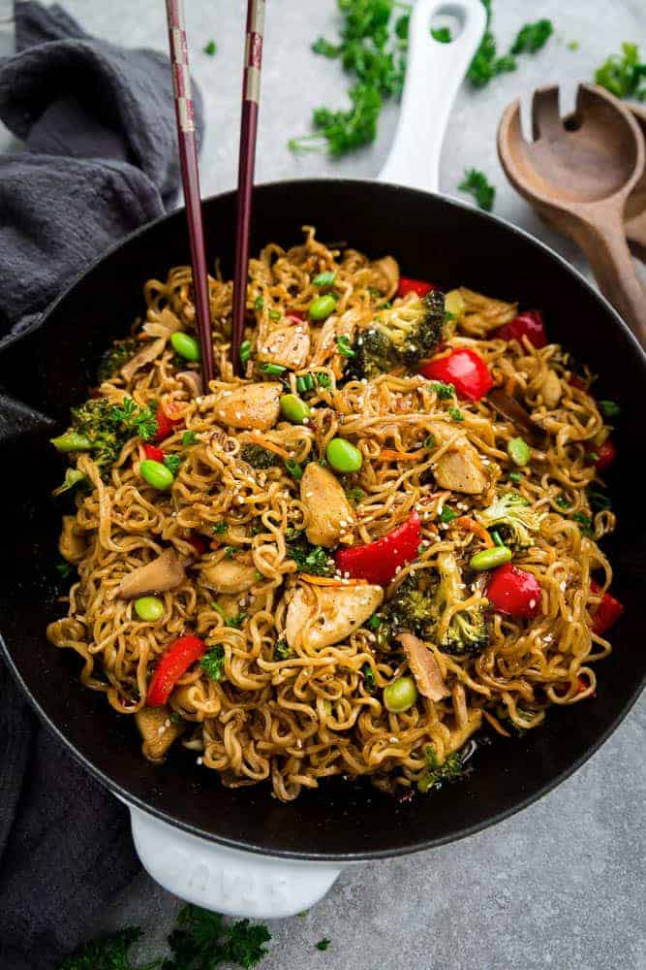 Teriyaki Chicken Ramen Noodle Stir-Fry (One Pot Skilet ..