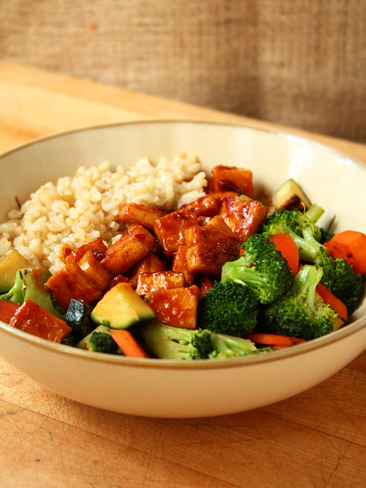 Teriyaki Peanut Tofu With Stir Fried Veggies & Brown Rice - Tofu Recipes Dinner