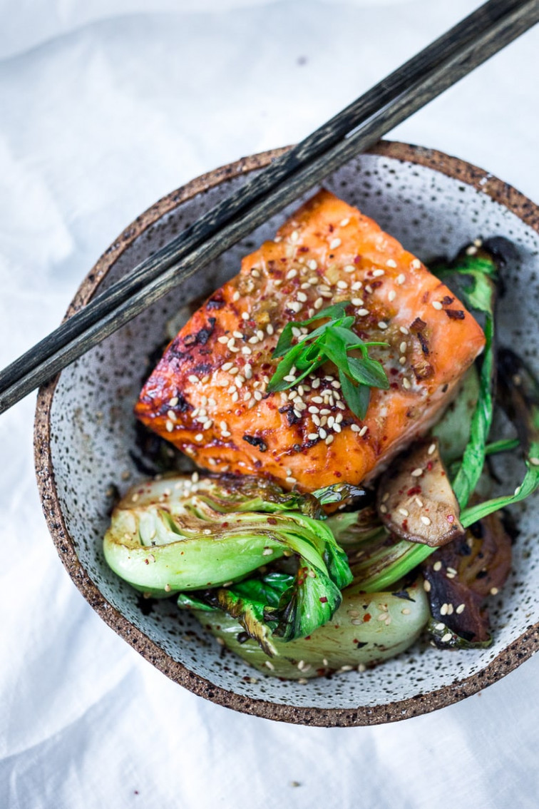 Teriyaki Salmon with Baby Bok Choy and Shiitakes - healthy recipes salmon