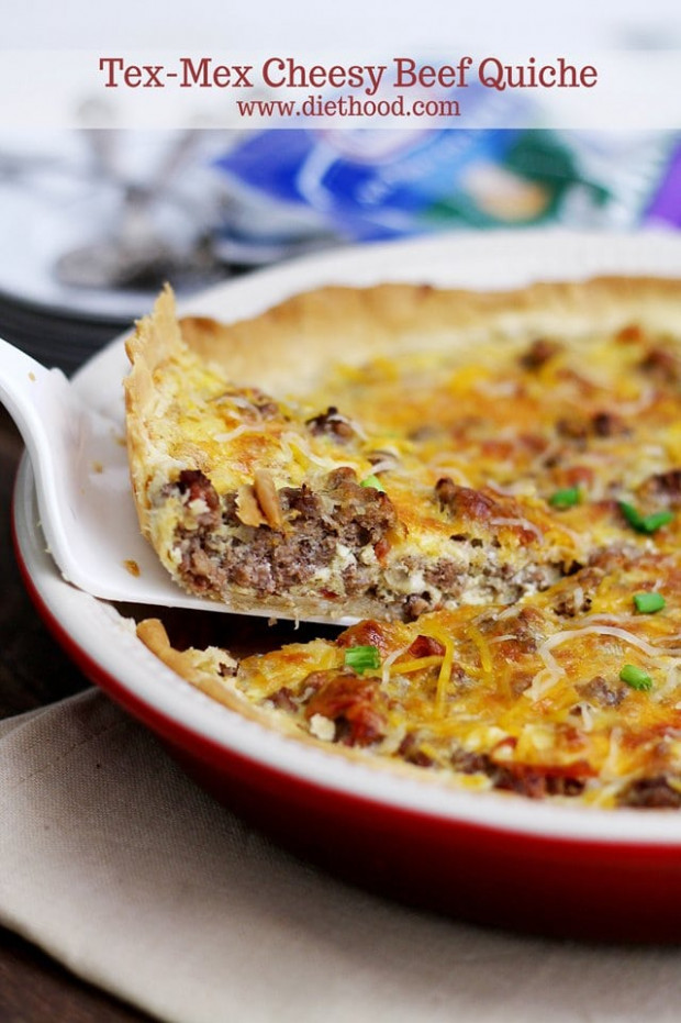 Tex Mex Cheesy Beef Quiche Recipe | Diethood - Recipes Quiche Vegetarian