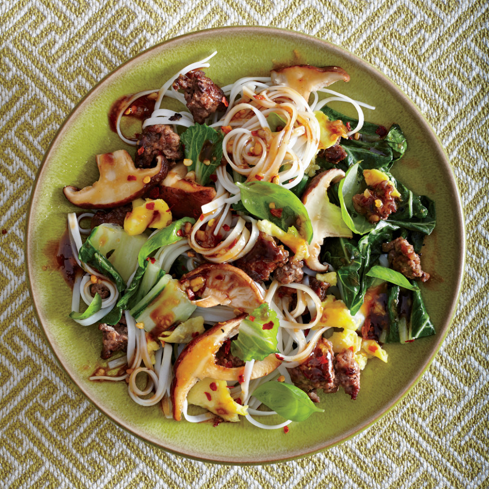 Thai Beef and Basil Noodles with Shiitake Gravy Recipe ..