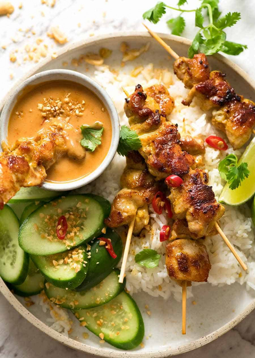 Thai Chicken Satay With Peanut Sauce | RecipeTin Eats - Recipes Satay Chicken