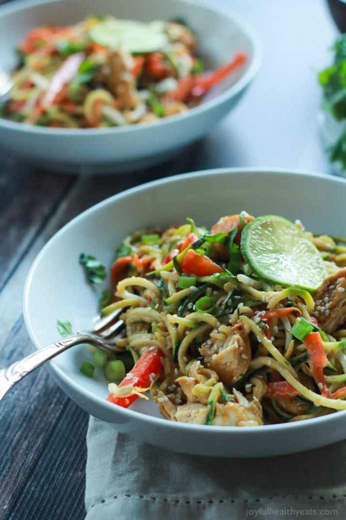 Thai Chicken Zoodles With Spicy Peanut Sauce - Chicken Zucchini Recipes Low Carb