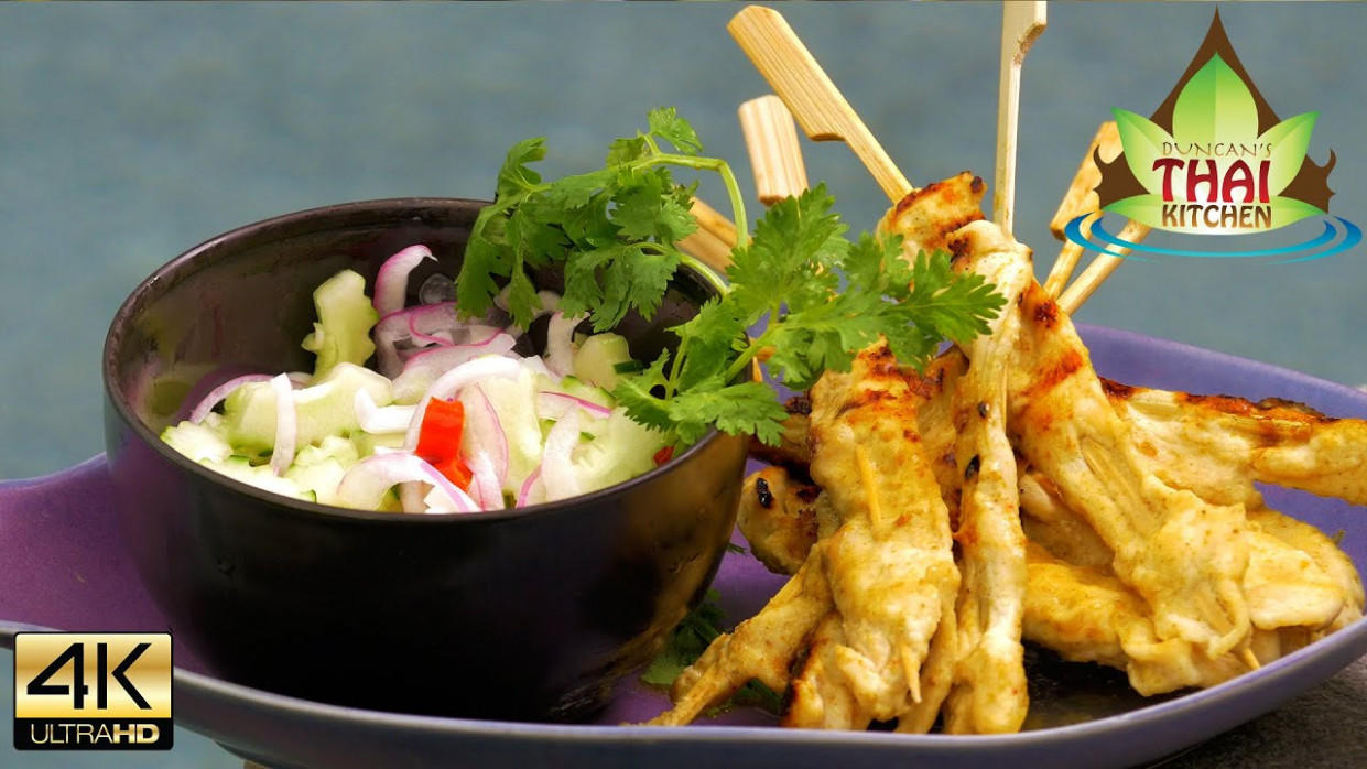 Thai Food BBQ Chicken Satay Skewers Recipe ️️ - YouTube - thai food recipes youtube