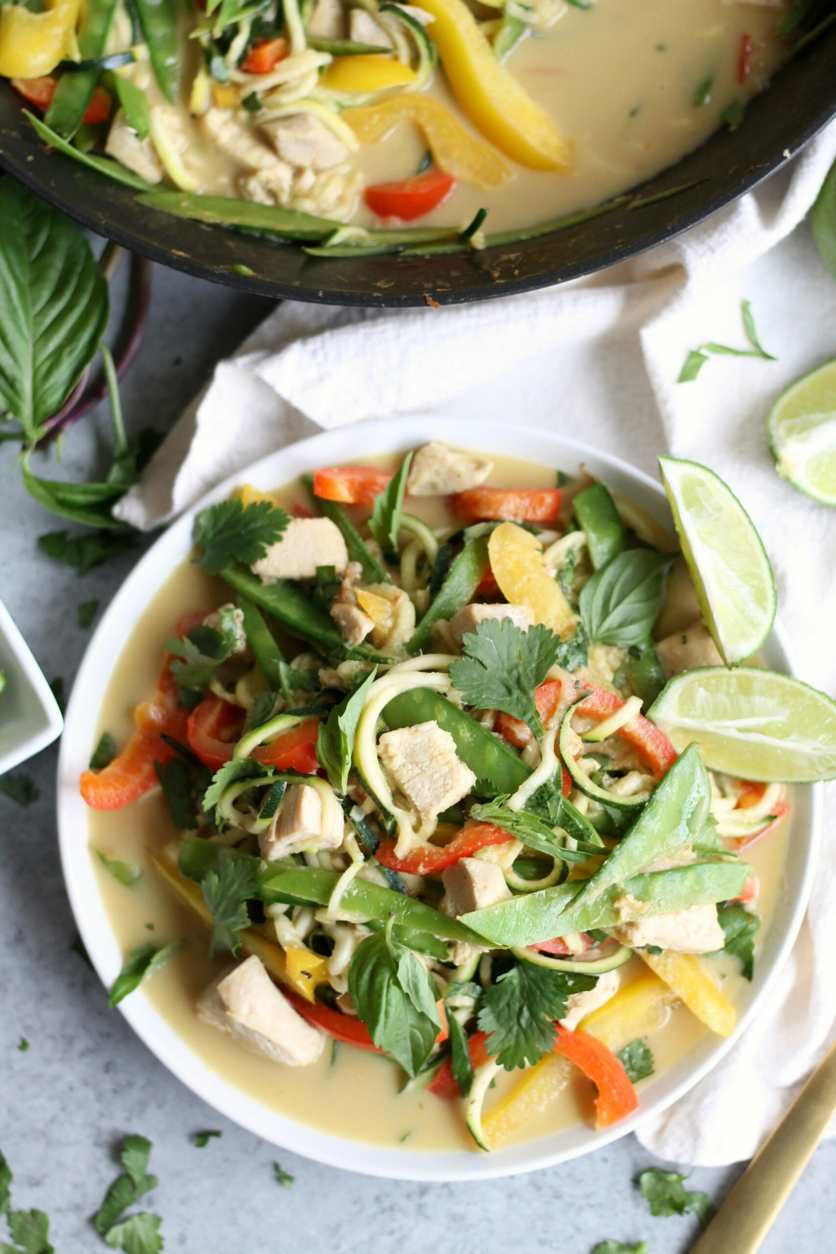 Thai Green Curry Chicken Vegetable Zucchini Noodles - recipe vegetarian thai green curry