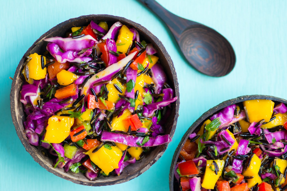 Thai Mango & Wild Rice Summer Slaw - Recipe + Video - healthy rice recipes