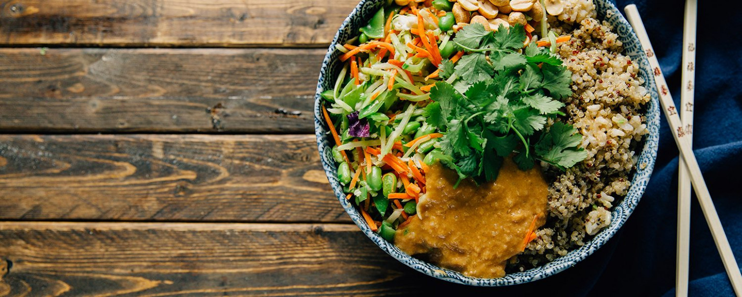 Thai Peanut Rice Bowl - vegetarian rice bowl recipes