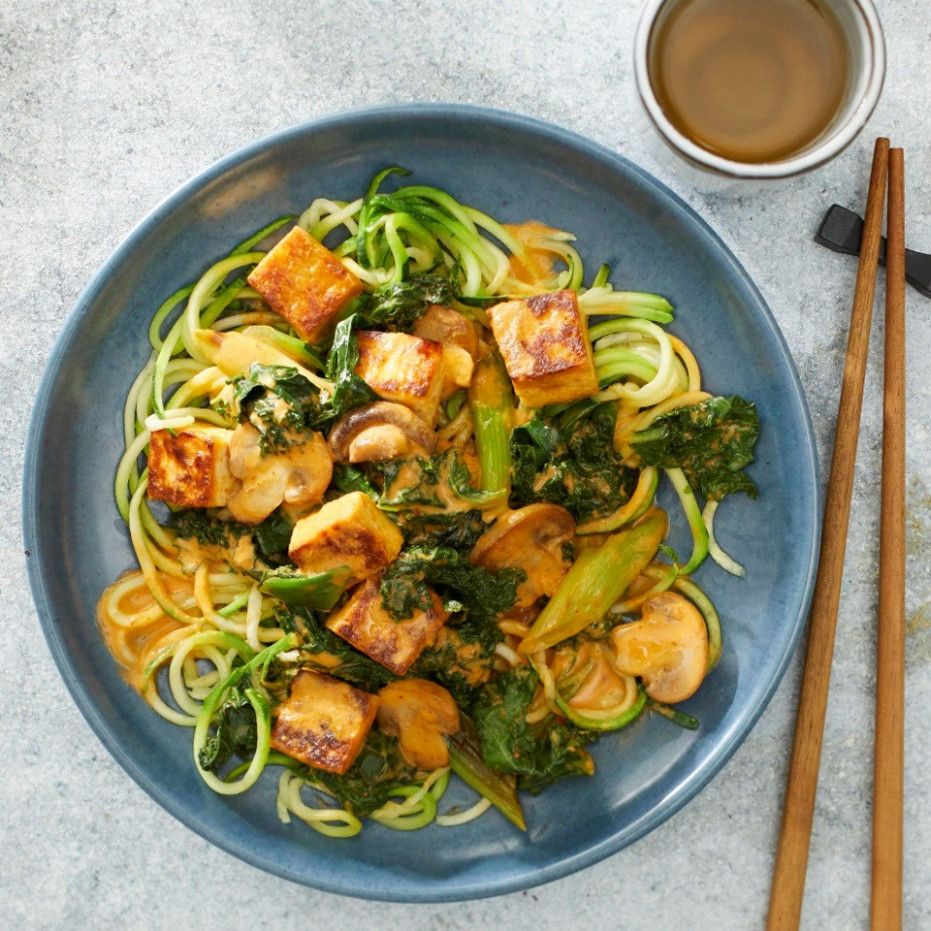 Thai Tofu & Vegetable Curry with Zucchini Noodles - zucchini noodle recipes vegetarian