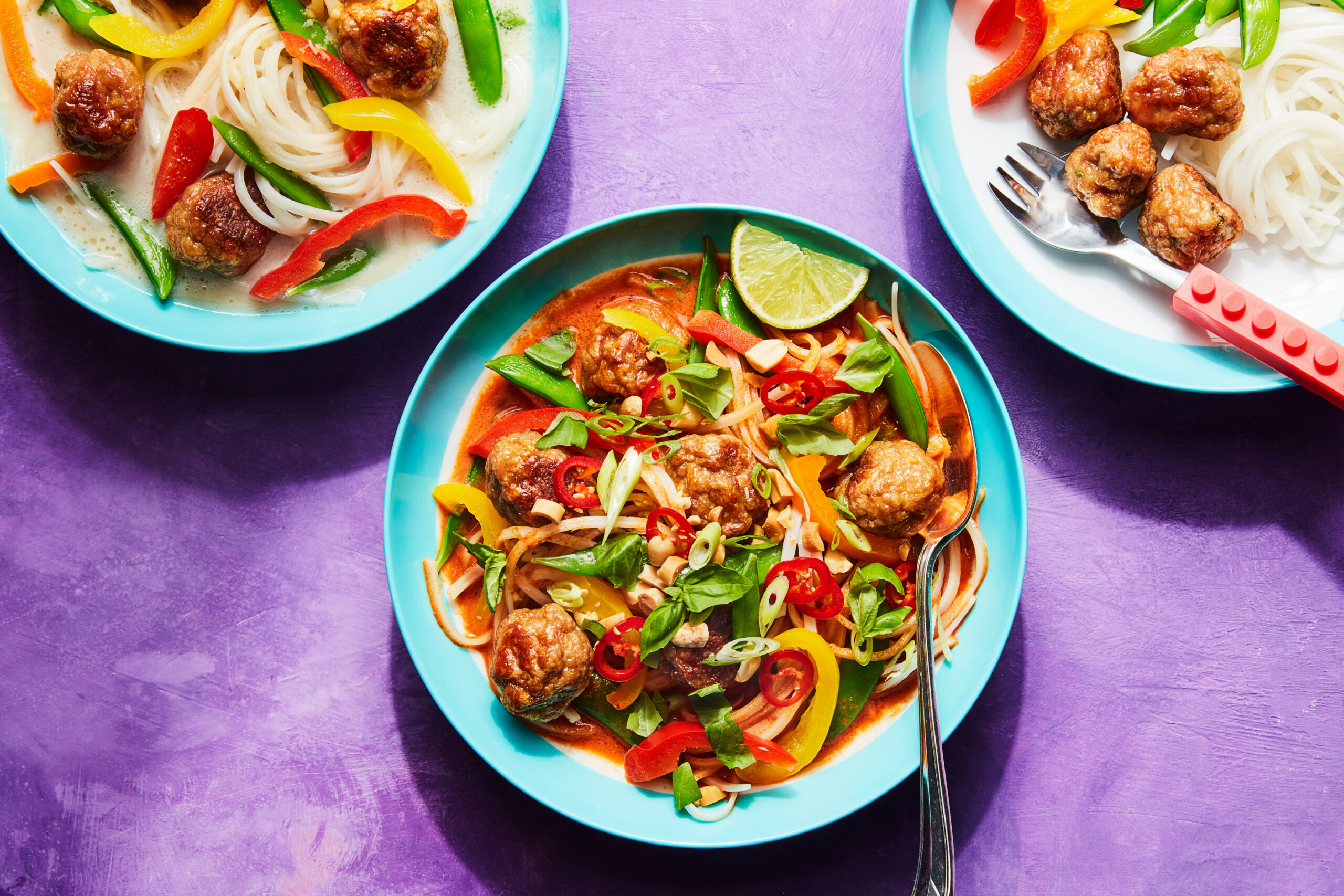 Thai Turkey Meatballs with Coconut Broth and Noodles - thai food recipes