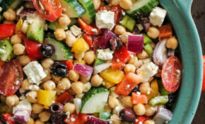 The Easiest Chopped Chickpea Greek Salad | Ambitious Kitchen – Recipes Garbanzo Beans Vegetarian