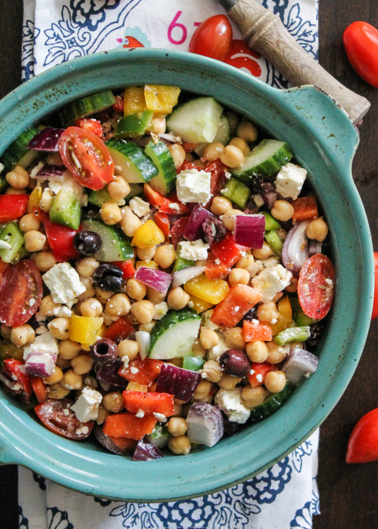 The Easiest Chopped Chickpea Greek Salad | Ambitious Kitchen - Recipes Garbanzo Beans Vegetarian