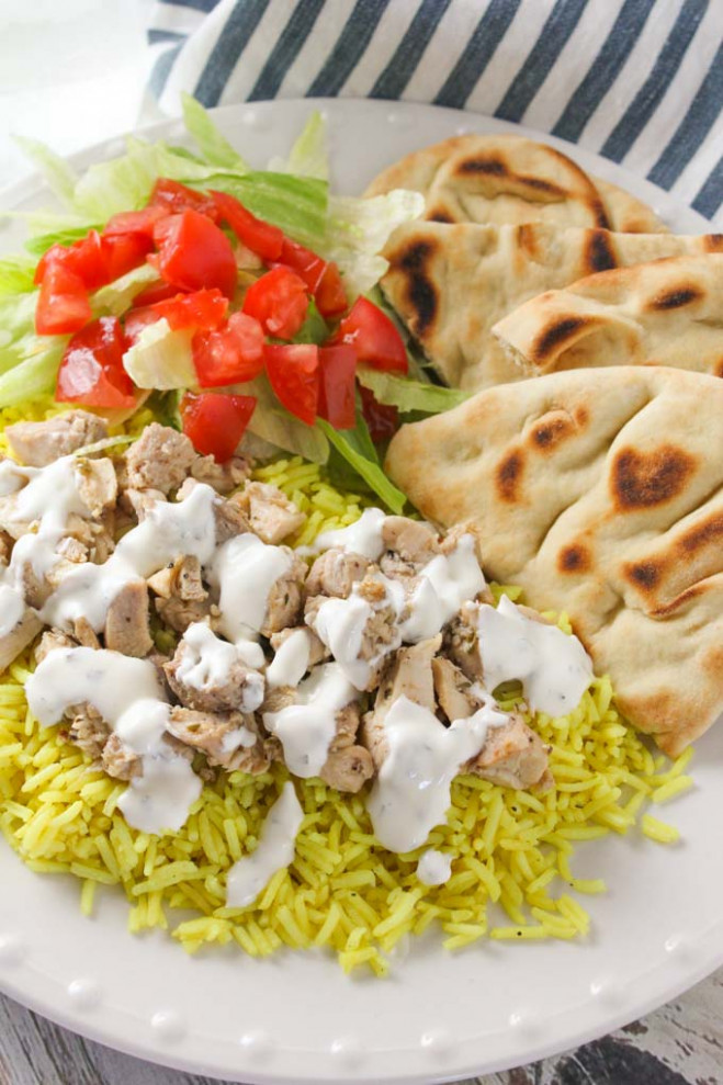 The Halal Guys Chicken & Rice with White Sauce | Baked in AZ - recipes halal food