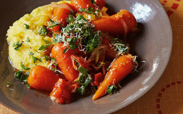 The new vegetarian: braised carrots with sprouted-seed ..