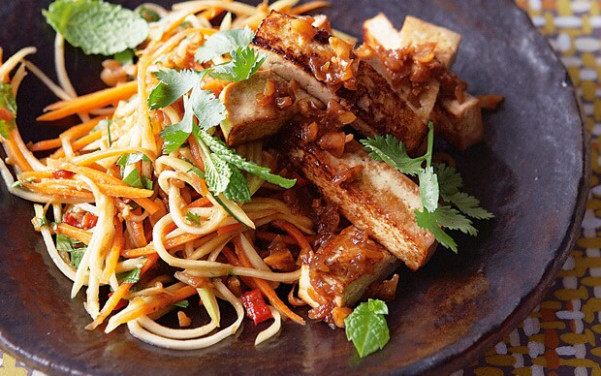The new vegetarian: seared tofu with peanut and tamarind ..