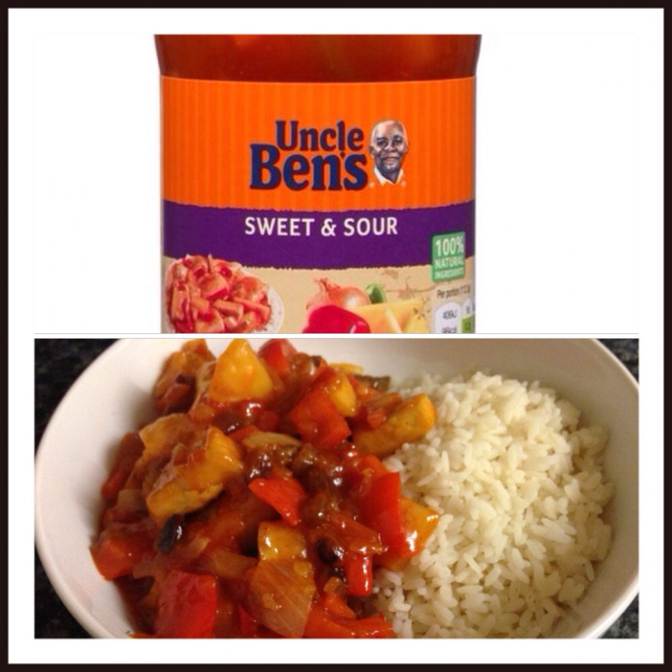 This Uncle Bens sweet and sour sauce is vegan! We oven ..