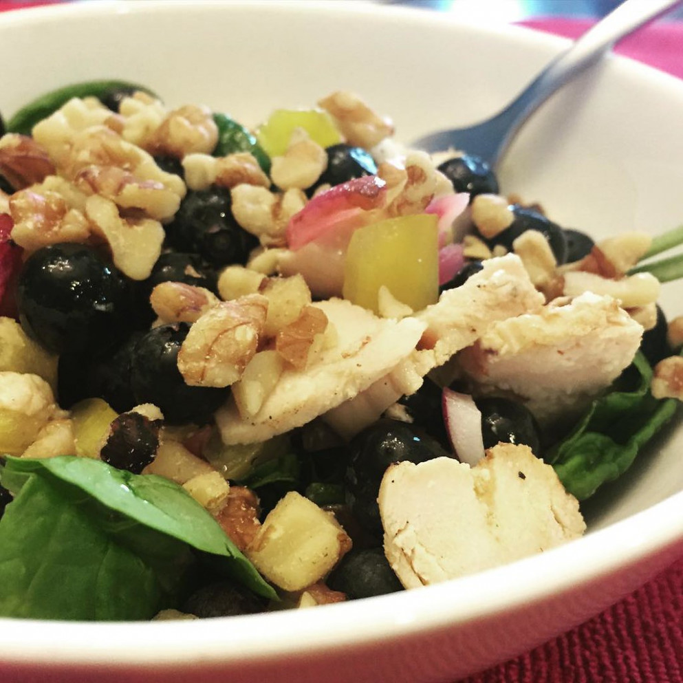 Today's Salad: Grilled Chicken, Grilled Red Onion, Yellow Bell Pepper, Blueberries, Chopped Walnuts, Evoo, Salt & Pepper, On A Bed Of Spinach. So Glad I Prepped Ahead! #Delicious