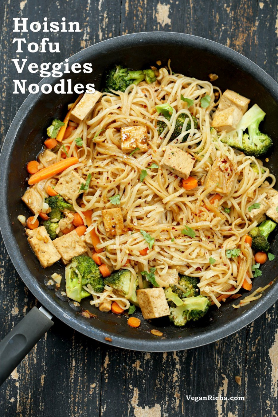 Tofu and Brown Rice Noodles in Hoisin Sauce - Vegan Richa - vegetarian recipes with rice and vegetables