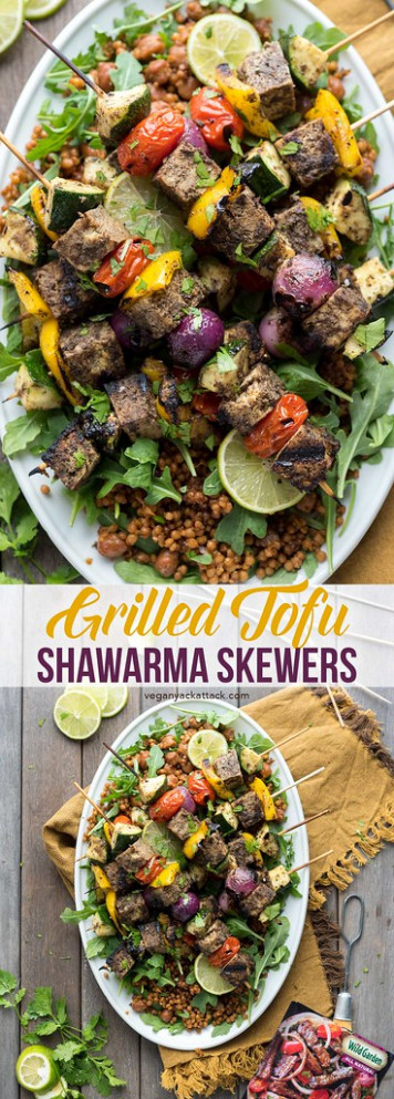 Tofu Shawarma Skewers - vegan recipes dinner quick
