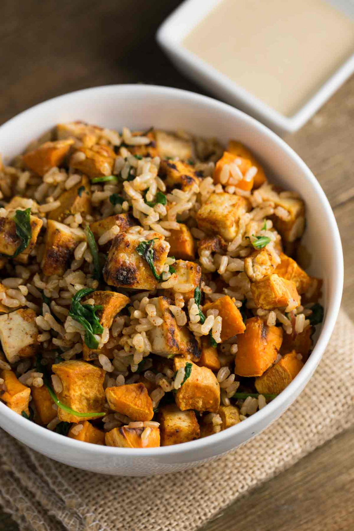 Tofu Sweet Potato Bowl with Tahini Sauce - sweet potato recipes vegetarian