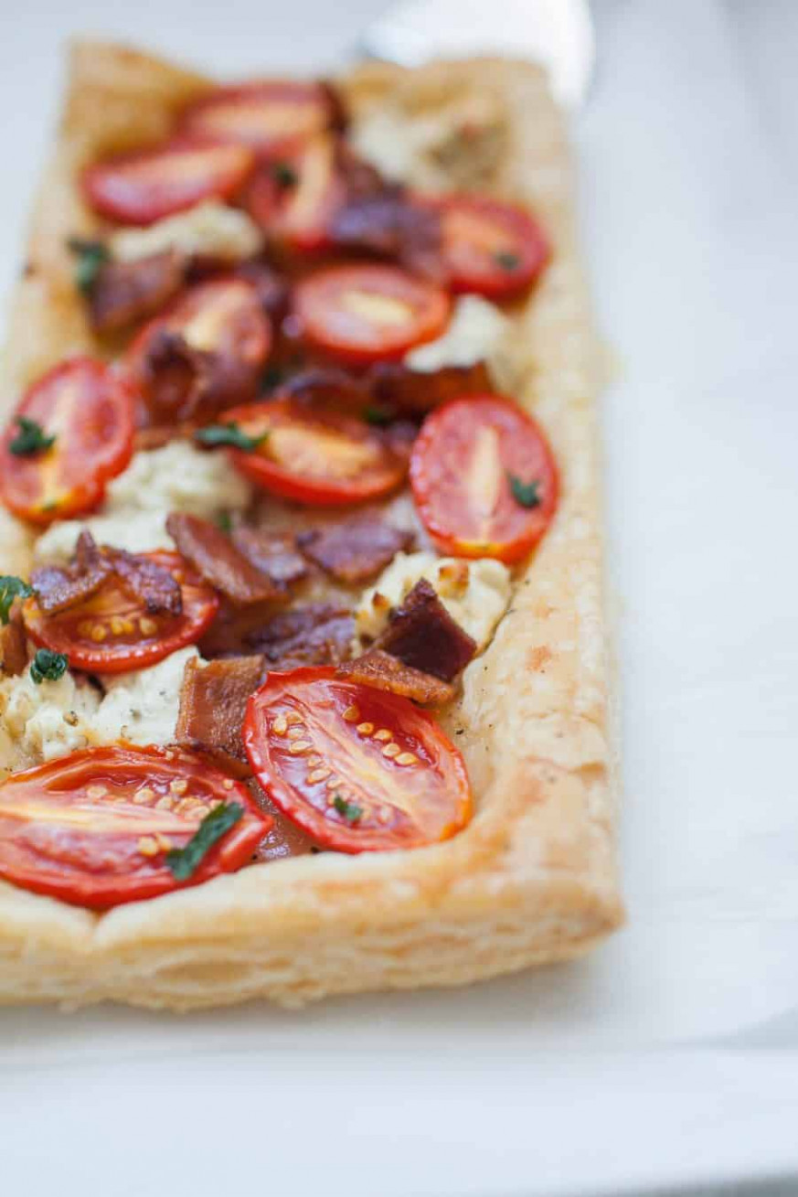 Tomato Bacon Goat Cheese Puff Pastry Appetizer | A Joyfully ..