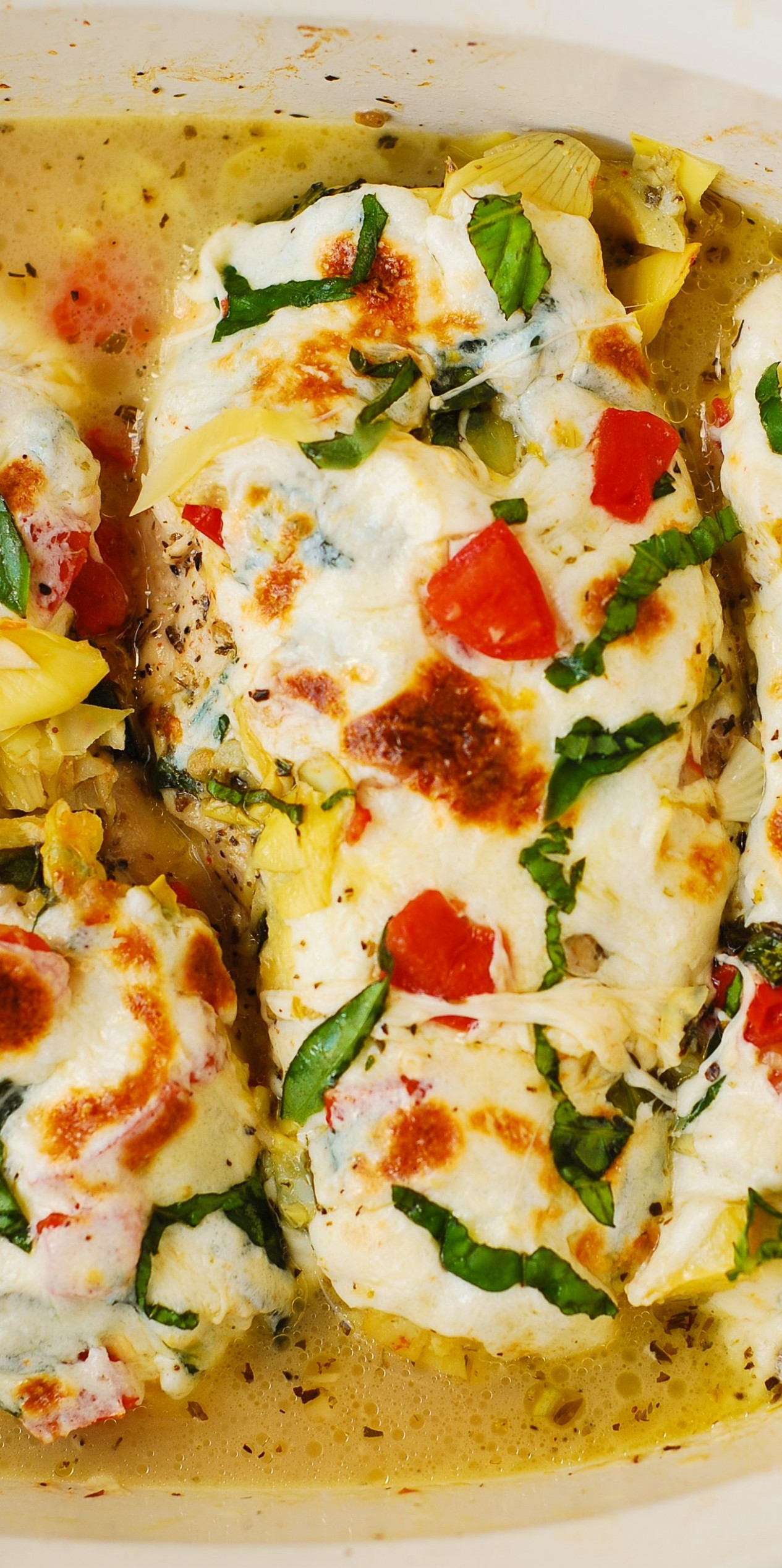Tomato Basil Artichoke Baked Chicken breasts with melted ..