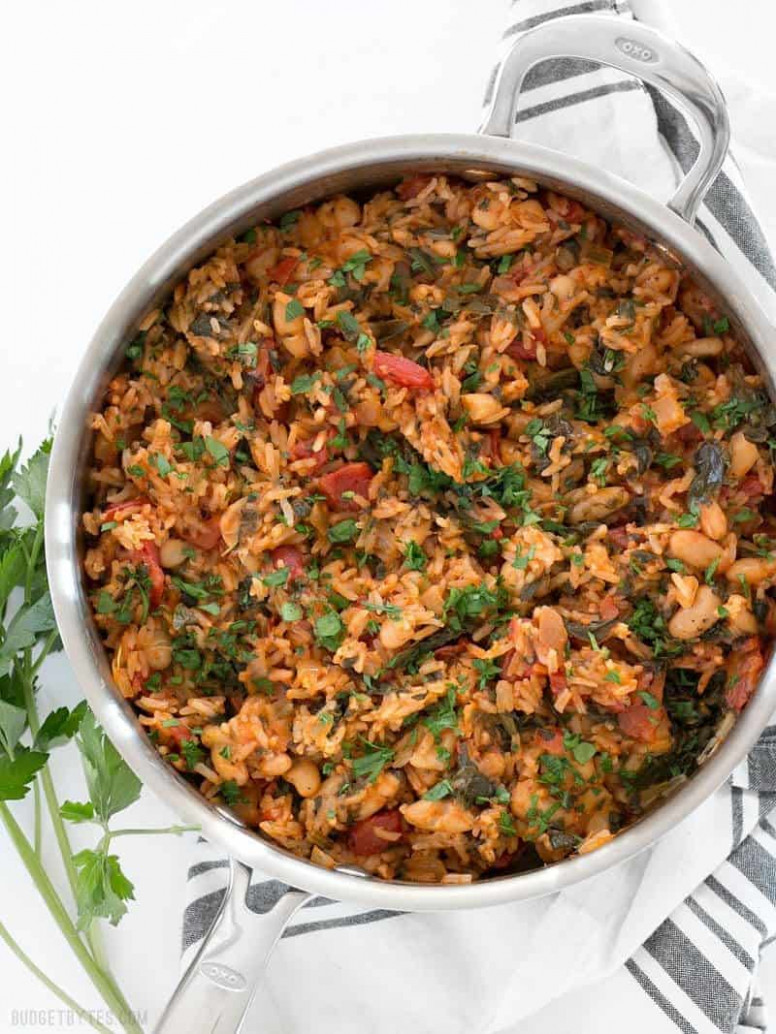 Tomato Herb Rice with White Beans and Spinach - Budget Bytes - recipes beans and rice vegetarian