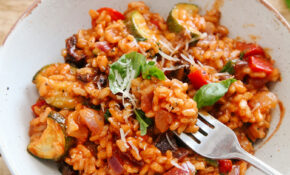 Tomato & Roasted Mediterranean Vegetable Risotto (Vegan ..