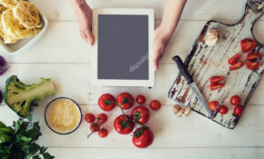 Top View Woman Cooking Healthy Food Making Sauce Using ..